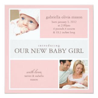 Quadratische Geburts-Mitteilung der Collagen-| Quadratische 13,3 Cm Einladungskarte
