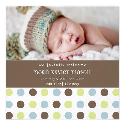 Quadratische Geburts-Mitteilung des Punkt-| Ankündigungskarten