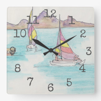 "Quadratische geformte Uhr ""Aquarell-Boote Fidschi"