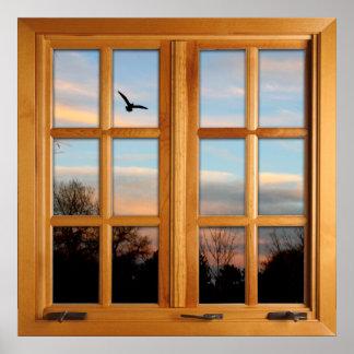 Quadratische Imitat-Fenster-Illusion - Poster