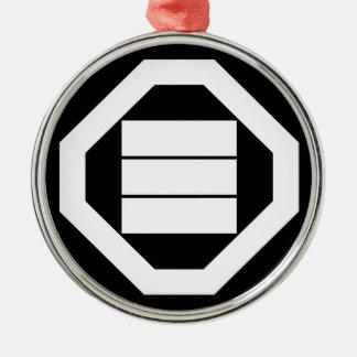 Quadratische Kanjicharaktere für drei in Oshiki Silbernes Ornament