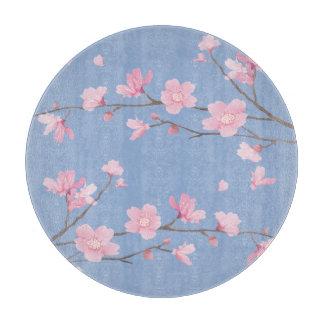 Quadratische Kirschblüte - Ruhe-Blau Schneidebrett