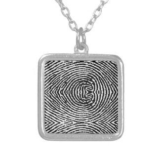 Quadratische Leute-Fingerabdrücke Halskette Mit Quadratischem Anhänger