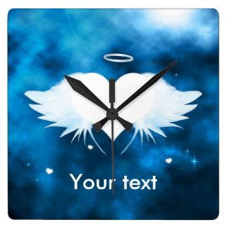 Quadratische Wanduhr - Engel des Herzens