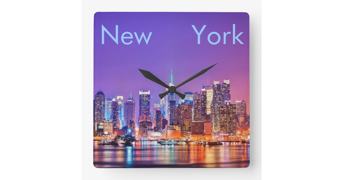 quadratische wanduhr new york city zazzle. Black Bedroom Furniture Sets. Home Design Ideas