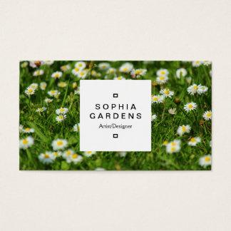 Quadratischer Aufkleber 03a - Gänseblümchen-Wiese Visitenkarte