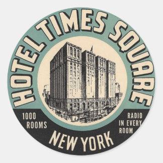 Quadratischer Aufkleber Vintages Hotel-New York