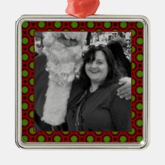 Quadratischer Fotorahmen der Feiertagspolkapunkte Quadratisches Silberfarbenes Ornament