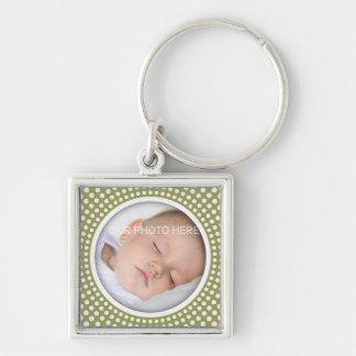 Quadratischer Fotorahmen des Babys - olivgrünes Schlüsselanhänger
