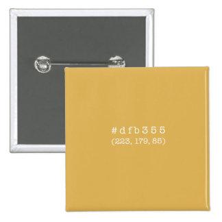 Quadratischer Knopf #dfb355 (weißer Text) Quadratischer Button 5,1 Cm