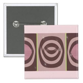 Quadratischer Knopf RETRO MALVENFARBENES MUSTER Quadratischer Button 5,1 Cm