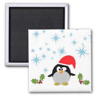 Quadratischer Magnet des Feiertags-Pinguin-5,1 cm