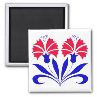 Quadratischer Magnet mit slowenisch Gartennelken