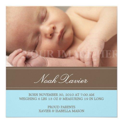 Quadratisches Blau u. Brown-Geburts-Mitteilung Personalisierte Ankündigungskarten