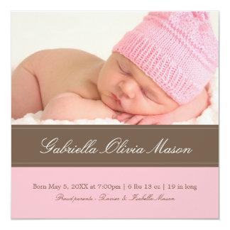 Quadratisches Brown u. zacken | Geburts-Mitteilung Quadratische 13,3 Cm Einladungskarte