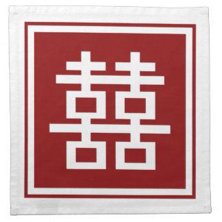 Quadratisches Logo-Doppelt-Glück-chinesische Serviette