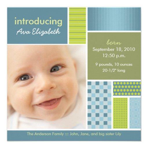 Quadratisches Patchwork-blaue Designer-Geburts-Mit Individuelle Ankündigskarten
