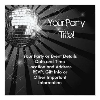Quadratisches silbernes Schein-Disco-Ball-Party Personalisierte Ankündigungen
