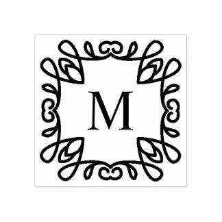 Quadratisches verziertes Monogramm Gummistempel