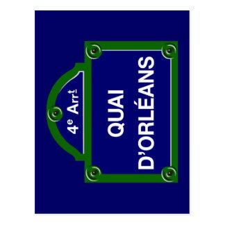 Quai d'Orleans, Paris-Straßenschild Postkarte