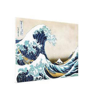 """Qualitäts-große Welle weg von Kanagawa (35"""" x 23"""") Leinwanddruck"""