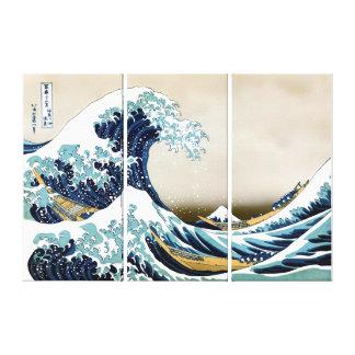 """Qualitäts-große Welle weg von Kanagawa (6"""" x 24"""") Leinwanddruck"""
