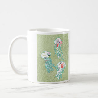 Quallen auf Pastellgrün, Kaffeetasse