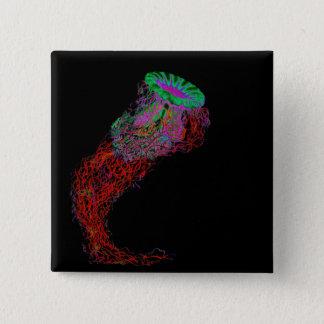 Quallen in den Neonfarben Quadratischer Button 5,1 Cm