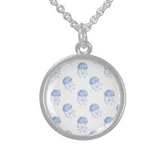 Quallen-Strandentwurf des Aquarells blauer Sterling Silberkette