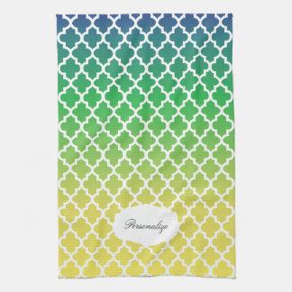 Quatrefoil blaue, grüne u. gelbe gemischte Farben Küchentuch