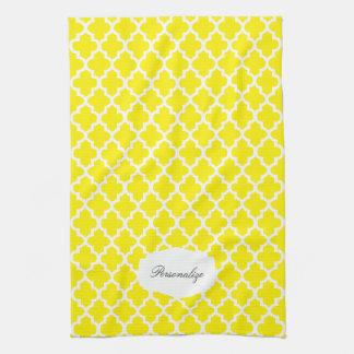 Quatrefoil gelb u. Farbe des Weiß-| DIY Handtuch