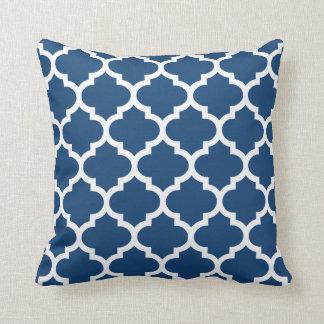 Quatrefoil Kissen - Monaco-Blau-Muster