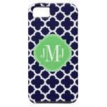 Quatrefoil Marine-Blau-und Weiß-Muster-Monogramm iPhone 5 Cover