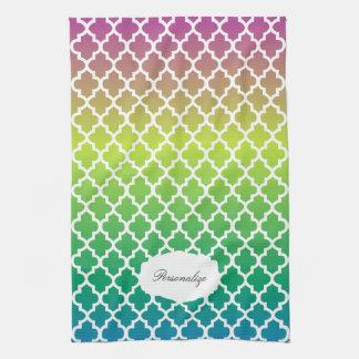 Quatrefoil mehrfarbige gemischte Farben Handtuch