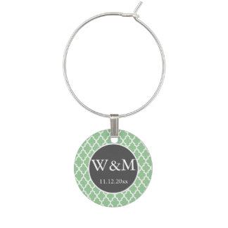 Quatrefoil mit Monogramm Hochzeits-graues grünes Glasmarker