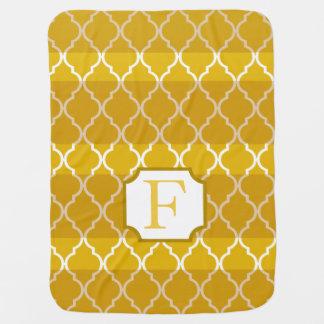 Quatrefoil Schatten Stripes Gelb des Monogramms | Babydecke