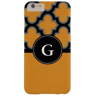 Quatrefoil schwarzer und orange Monogrammentwurf Barely There iPhone 6 Plus Hülle