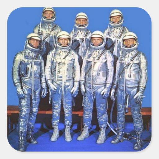 Quecksilber 7 Astronauten Quadratsticker
