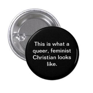Quees feministisches christliches runder button 3,2 cm