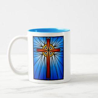 QuerBuntglas Fenster-Illustration Zweifarbige Tasse