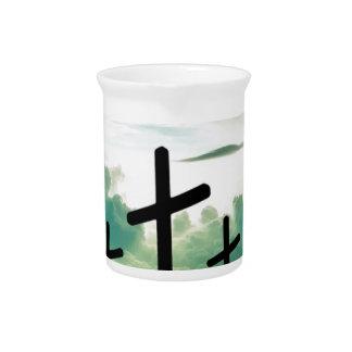 Querchristus-Glauben-Gott Jesus bewölkt Sun-Licht Krug