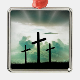 Querchristus-Glauben-Gott Jesus bewölkt Sun-Licht Silbernes Ornament