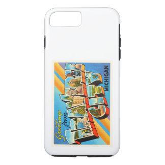 QuerVintage Reise-Andenken stadt-Michigans MI iPhone 8 Plus/7 Plus Hülle