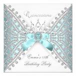 Quinceanera 15. aquamariner blauer silberner quadratische 13,3 cm einladungskarte