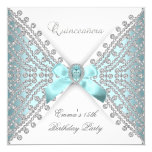 Quinceanera 15. aquamariner blauer weißer quadratische 13,3 cm einladungskarte