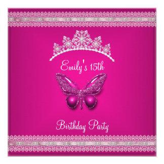 Quinceanera 15. Fushia rosa Tiara-Schmetterling Einladungskarten