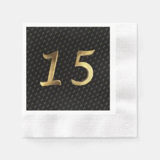 Quinceanera 15. Geburtstags-15. Jahrestags-Gold Papierserviette