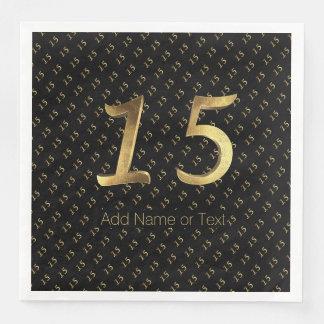 Quinceanera 15. Geburtstags-15. Jahrestags-Gold Servietten