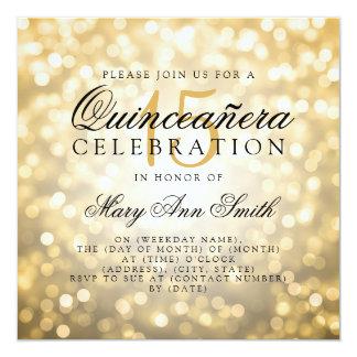Quinceanera 15. Geburtstags-GoldBokeh Lichter Karte