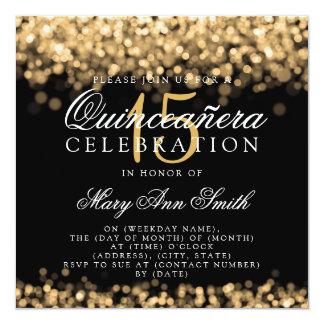 Quinceanera 15. Geburtstags-Party-Goldlichter Quadratische 13,3 Cm Einladungskarte